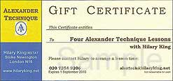 Gift Voucher for Alexander Technique Lessons in London